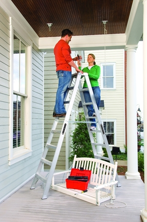 Louisville Ladder 10 Foot Aluminum Twin Front Step Ladder