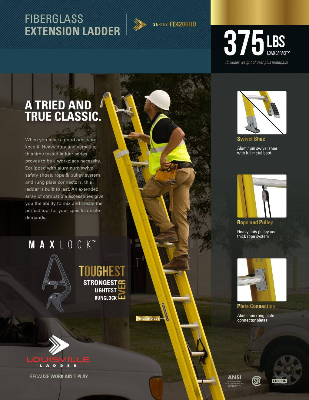 FE4200 Extension Ladder Flyer and Spec Sheet Marketing Material Image