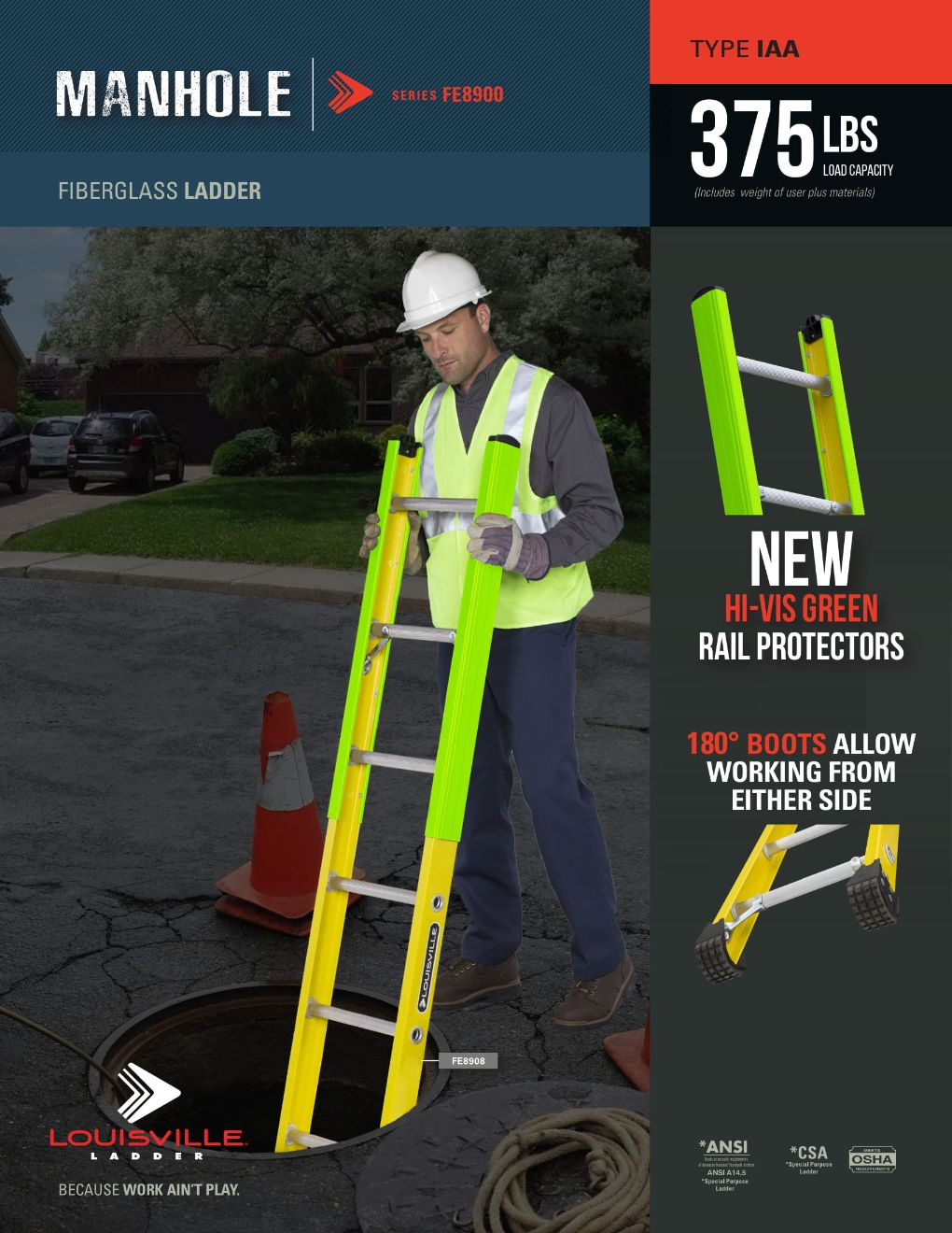 FE8900 Manhole Ladder Flyer and Spec Sheet Marketing Material Image