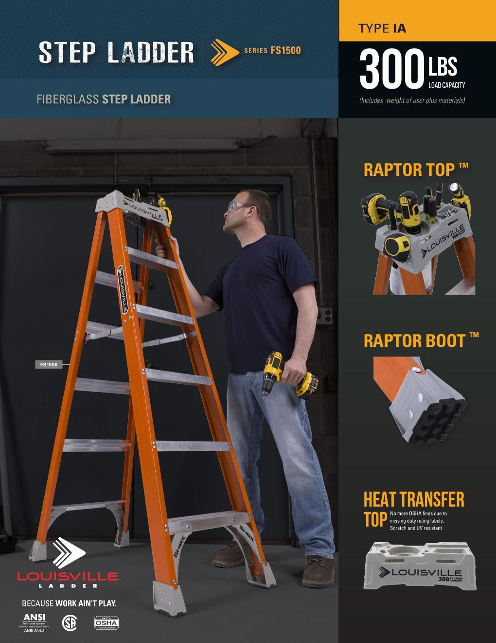 FS1500 Step Ladder Flyer and Spec Sheet Marketing Material Image