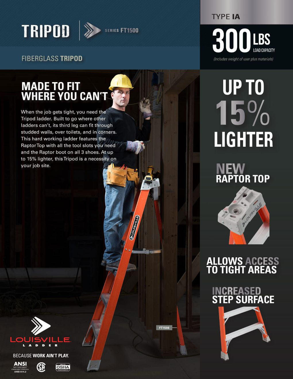 FT1500 Tripod Ladder Flyer and Spec Sheet Marketing Material Image