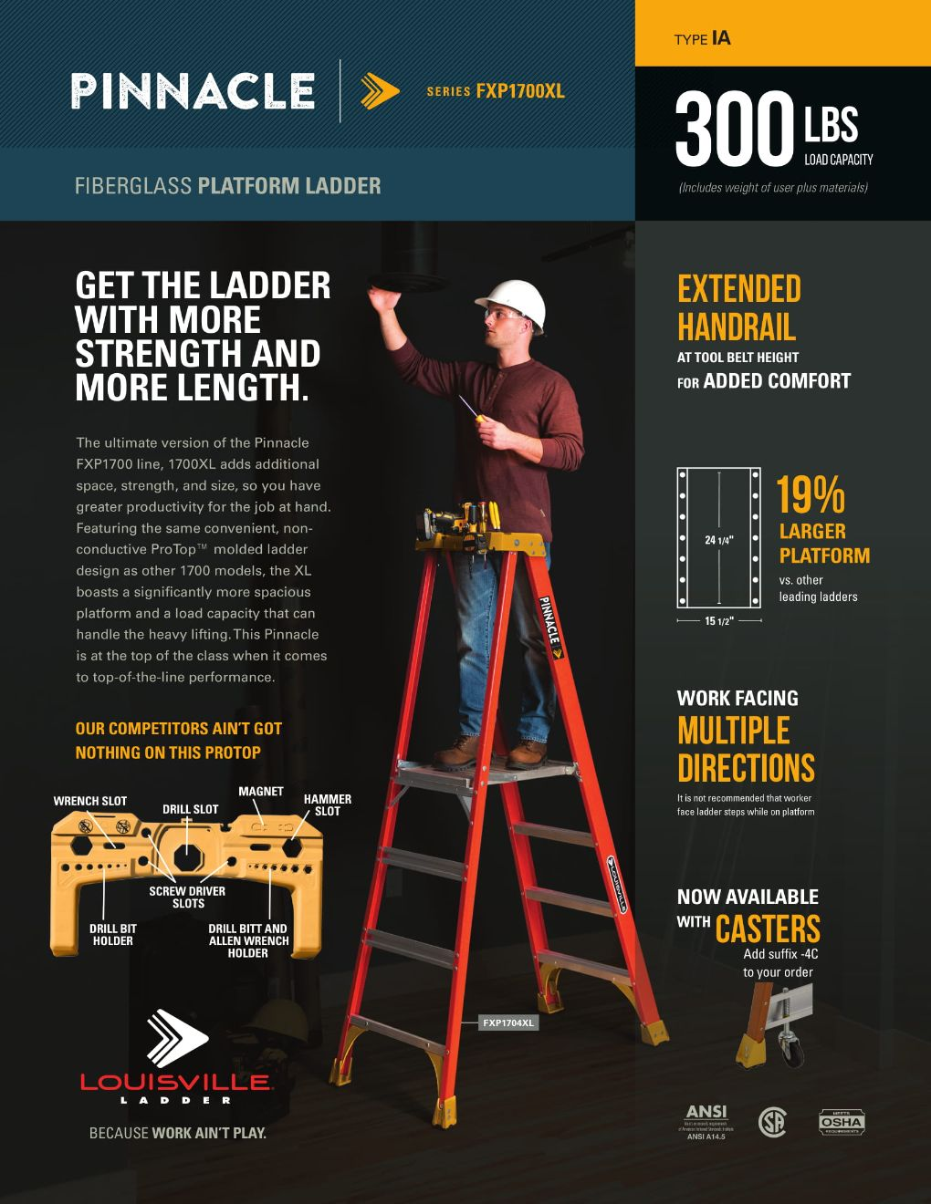 FXP1700XL Pinnacle Ladder Flyer and Spec Sheet Marketing Material Image