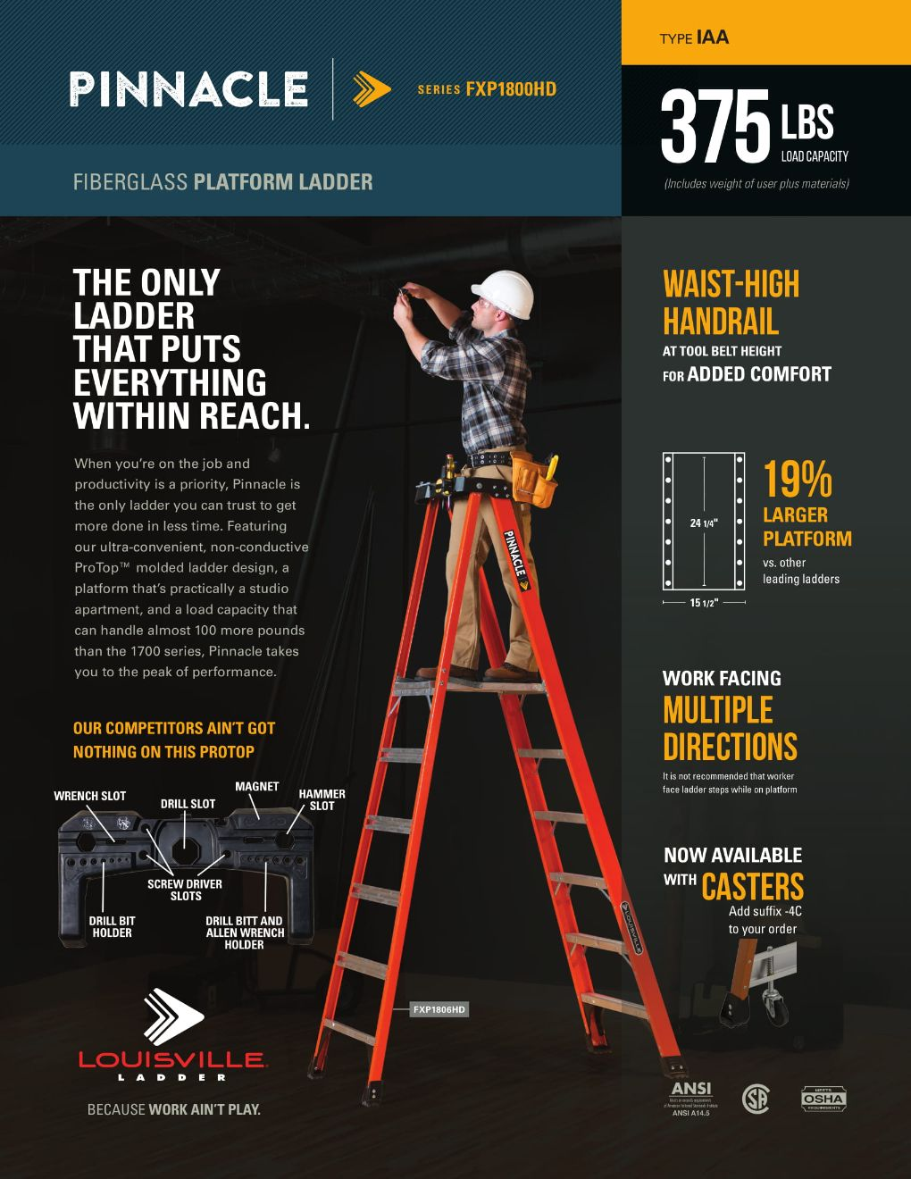 FXP1800HD Pinnacle Ladder Flyer and Spec Sheet Marketing Material Image