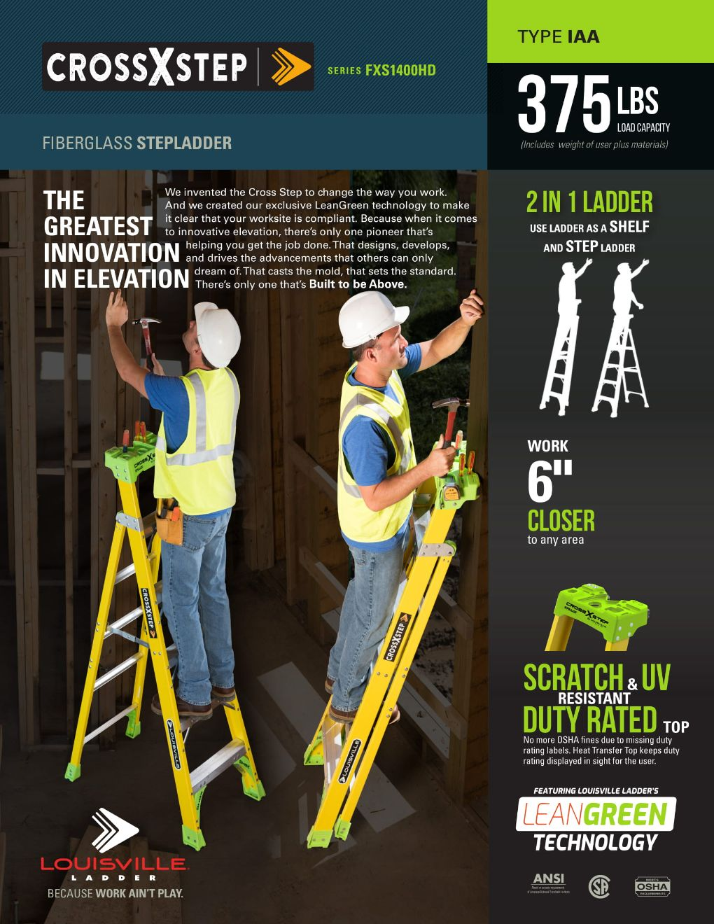 FXS1400HD Cross Step Ladder Flyer and Spec Sheet Marketing Material Image