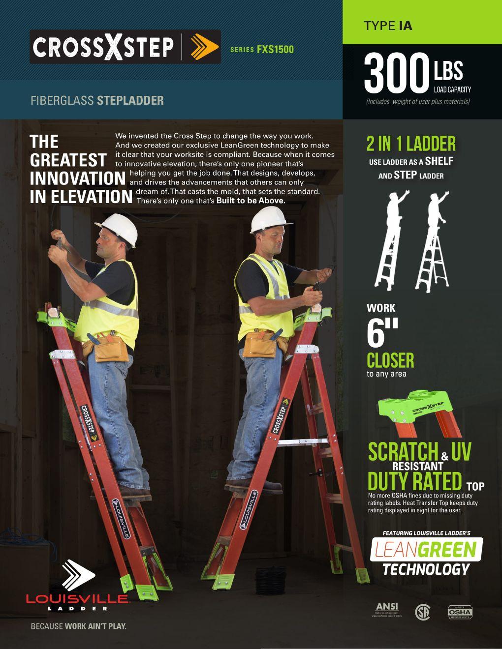FXS1500HD Cross Step Ladder Flyer and Spec Sheet Marketing Material Image