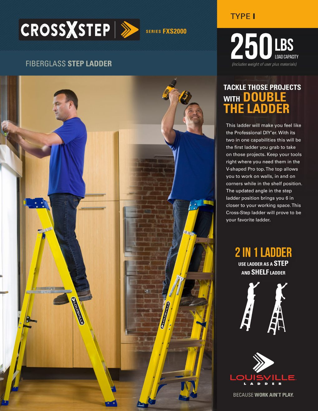 FXS2000 Cross Step Ladder Flyer and Spec Sheet Marketing Material Image