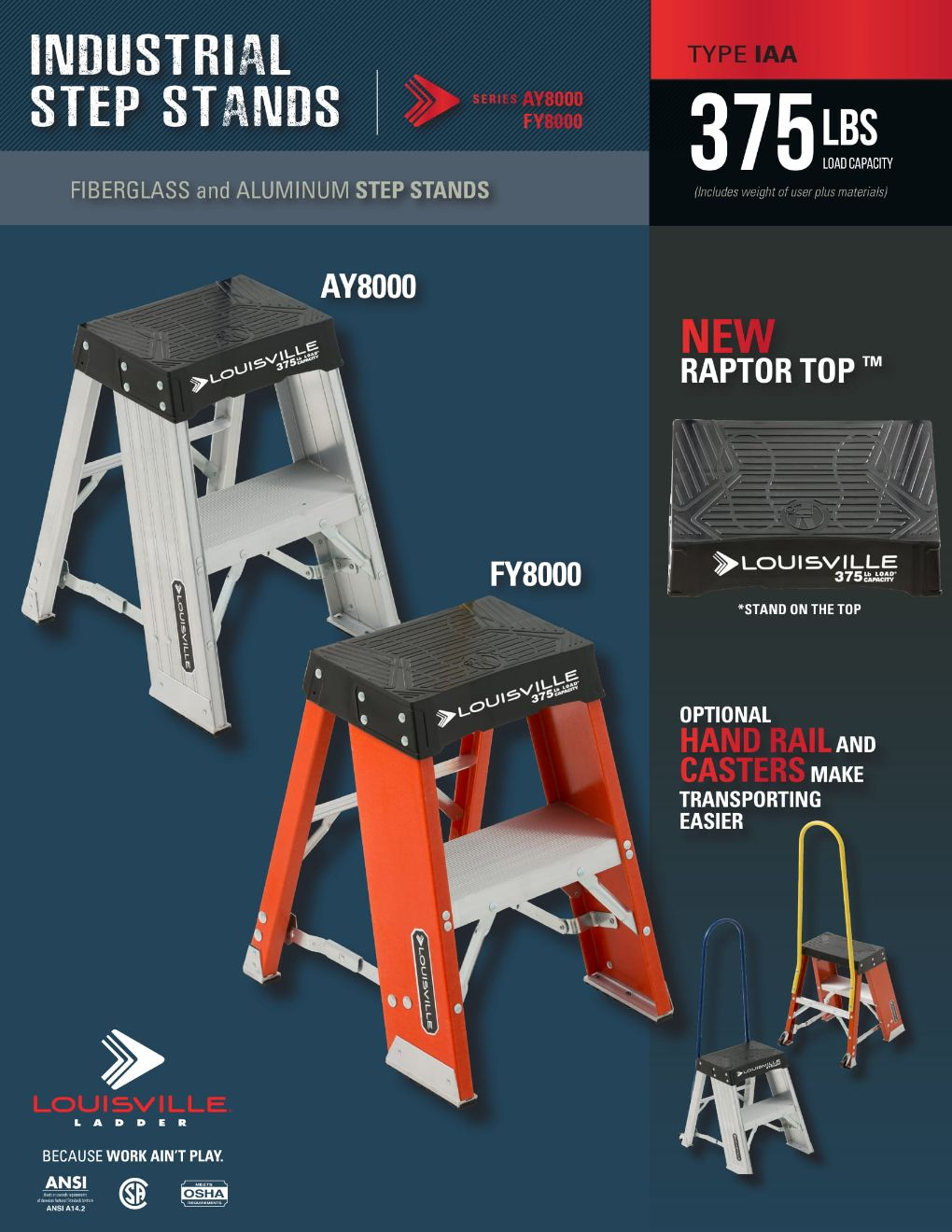 FY8000 & AY8000 Industrial Step Stands Flyer and Spec Sheets Marketing Material Image
