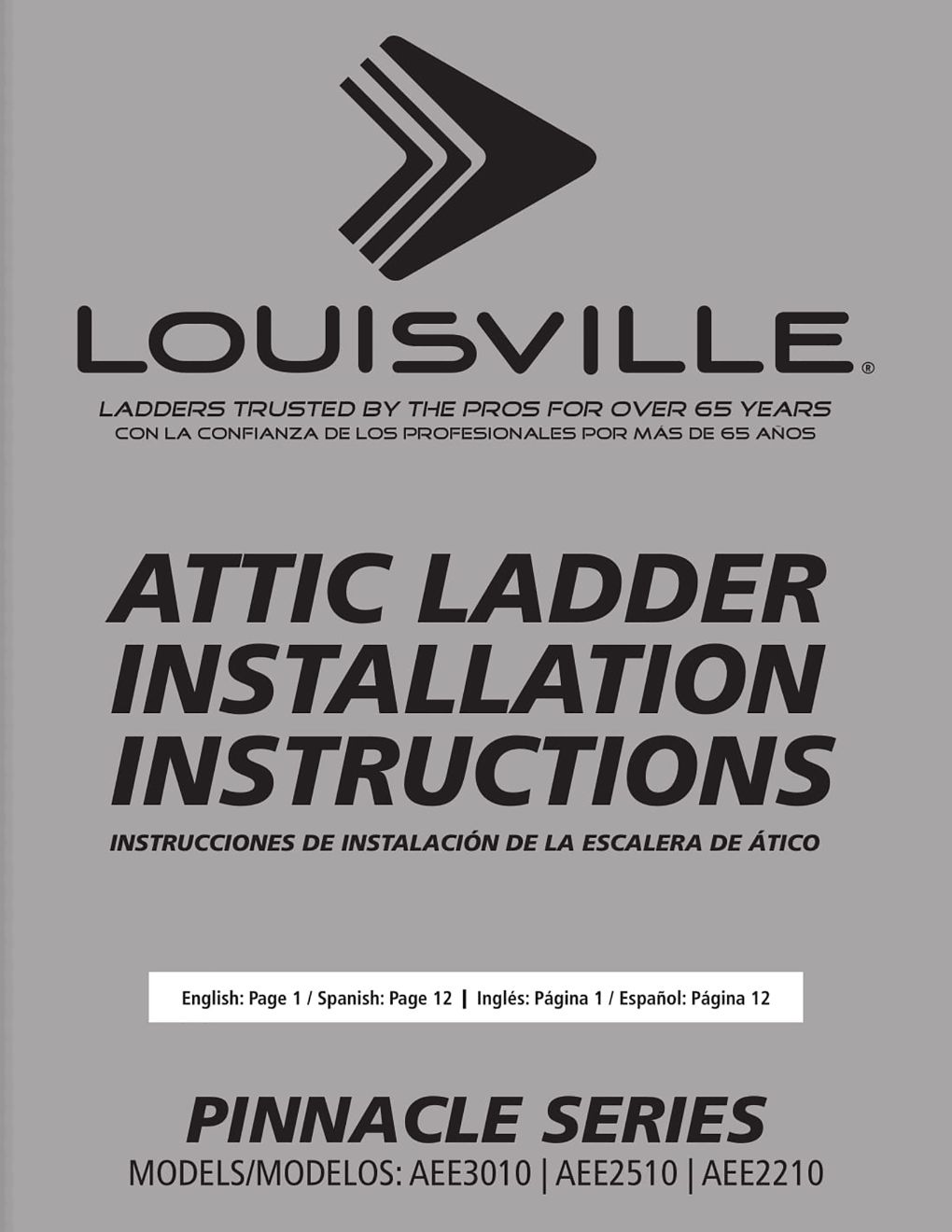 AEE2210 and AEE2510 Attic Ladders Installation Instructions Marketing Material Image