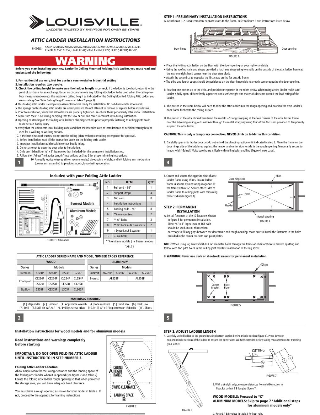 AL228P and AL258P Attic Ladders Installation Instructions Marketing Material Image