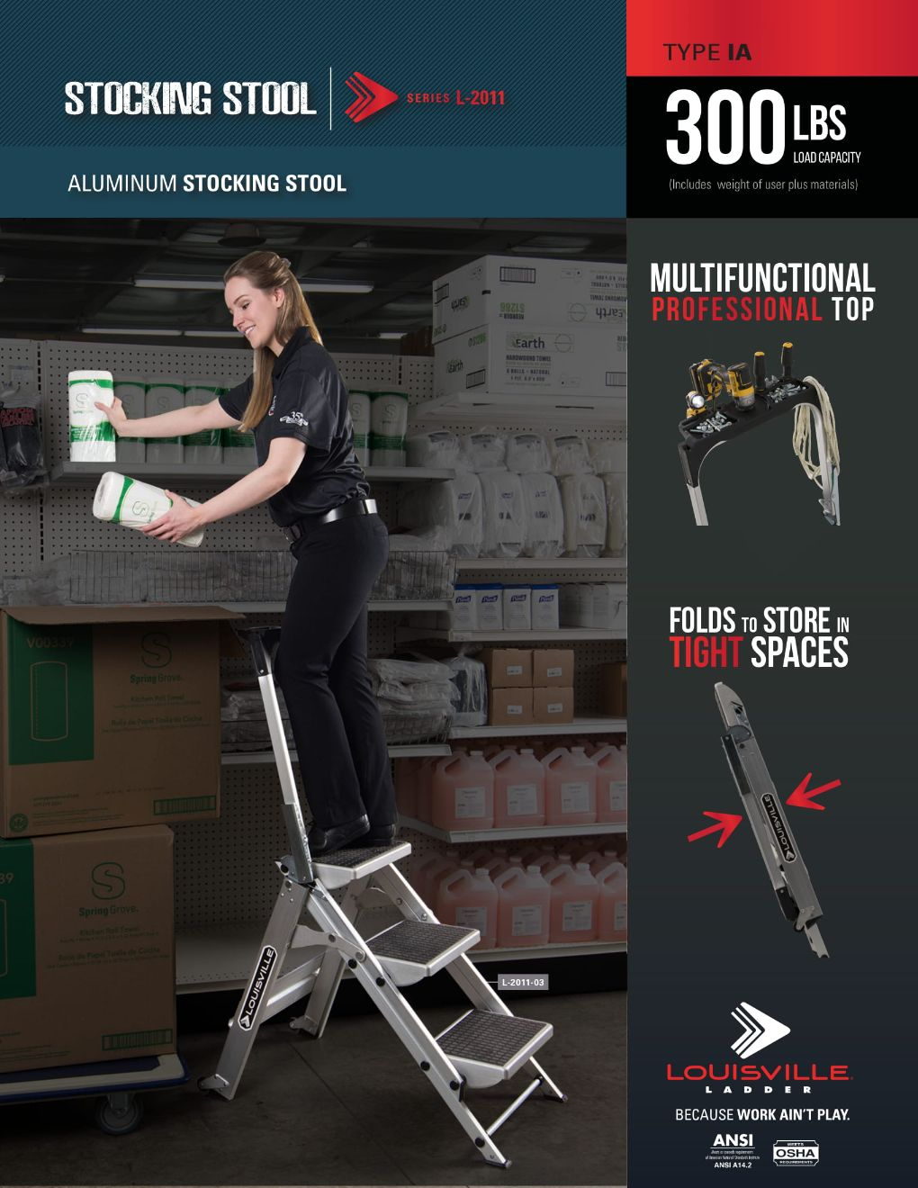 L-2011 Stocking Stool Flyer and Spec Sheet Marketing Material Image
