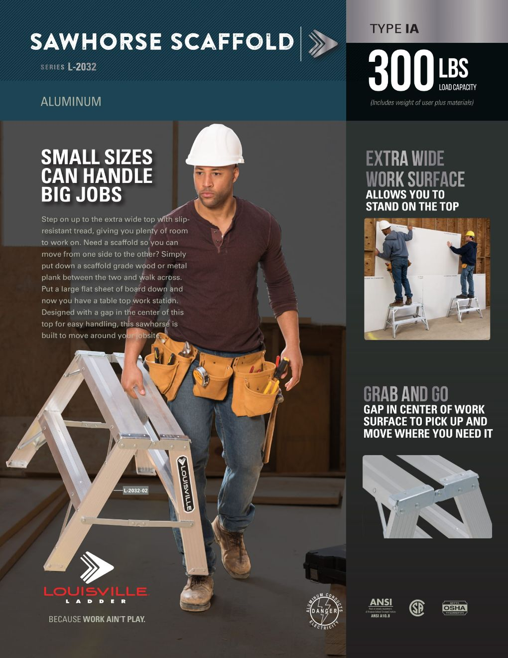 L-2032 Sawhorse Ladder Flyer and Spec Sheet Marketing Material Image
