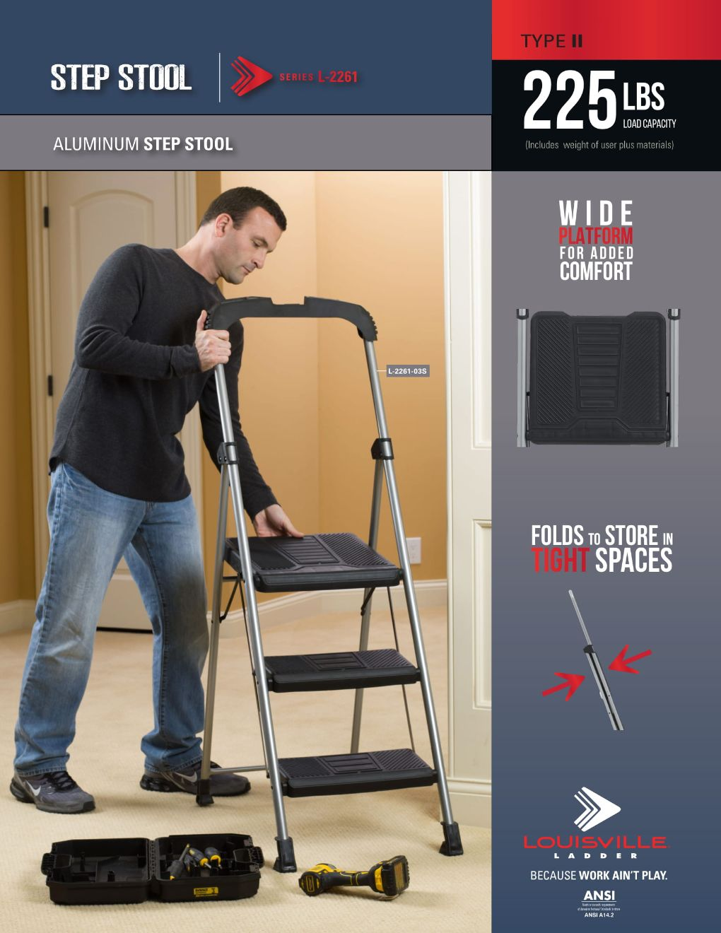 L-2261 Step Stool Ladder Flyer and Spec Sheet Marketing Material Image