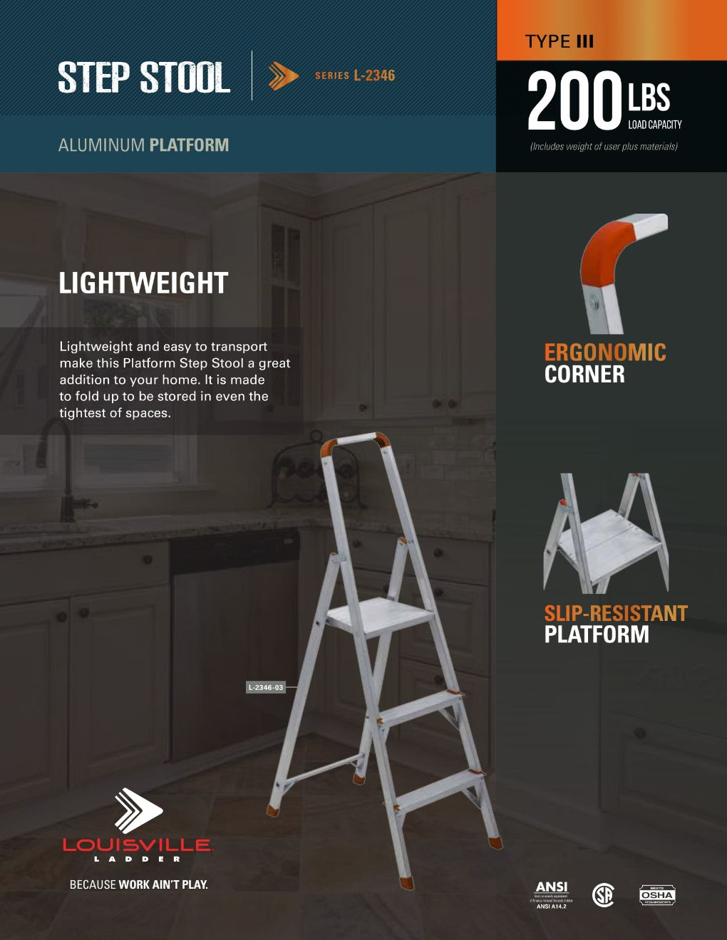 L-2346 Step Stool Ladder Flyer and Spec Sheet Marketing Material Image