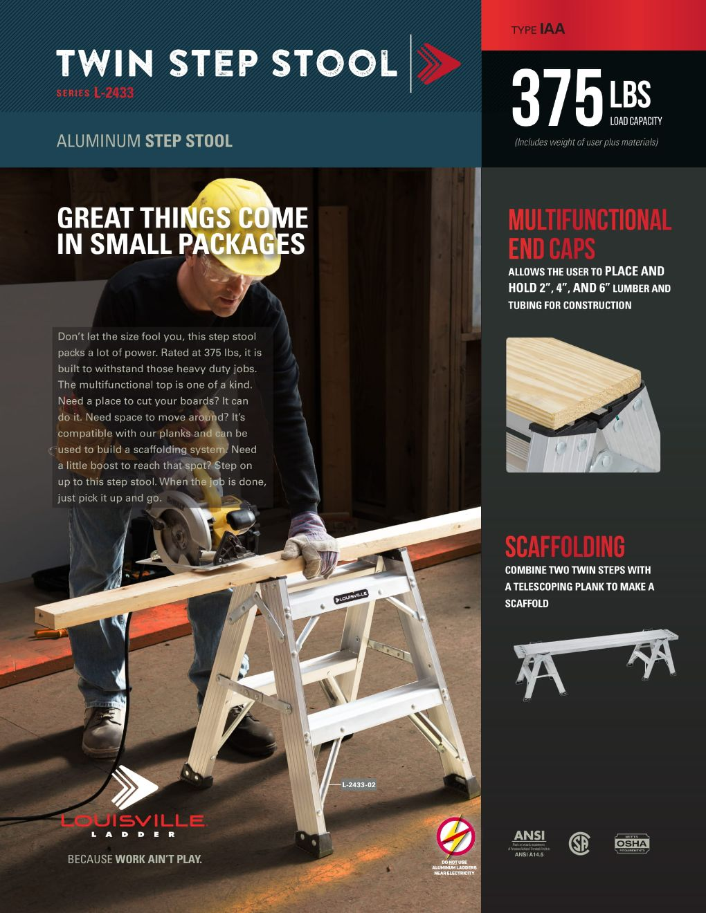 L-2433 Step Stool Ladder Flyer and Spec Sheet Marketing Material Image