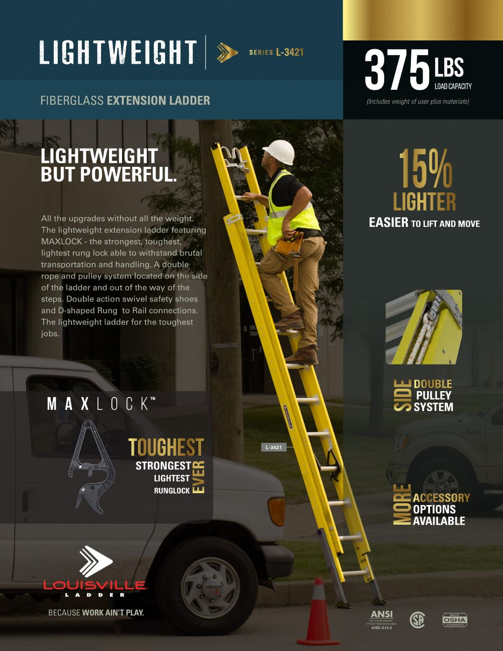 L-3421 Light Weight Extension Ladder Flyer and Spec Sheet Marketing Material Image